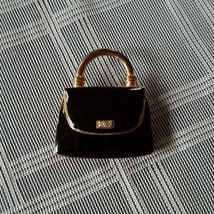 Black and Gold Handbag Brooch Pin